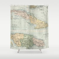 jamaica Shower Curtains featuring Vintage Map of Cuba and Jamaica (1892)  by BravuraMedia
