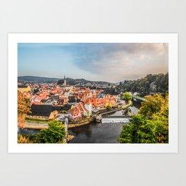 Cesky Krumlov Panoramic view Art Print