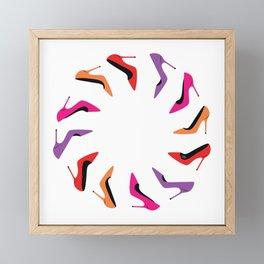 Colorful high heel shoes graphic illustration Framed Mini Art Print