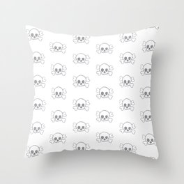 Grey Skull and Crossbones Print and Pattern Throw Pillow