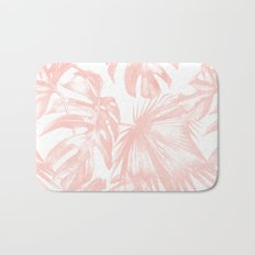 Pink Tropical Palm Leaves Bath Mat