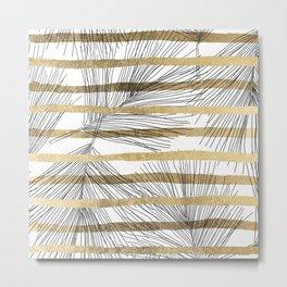 Geometrical black faux gold hand drawn palm tree Metal Print