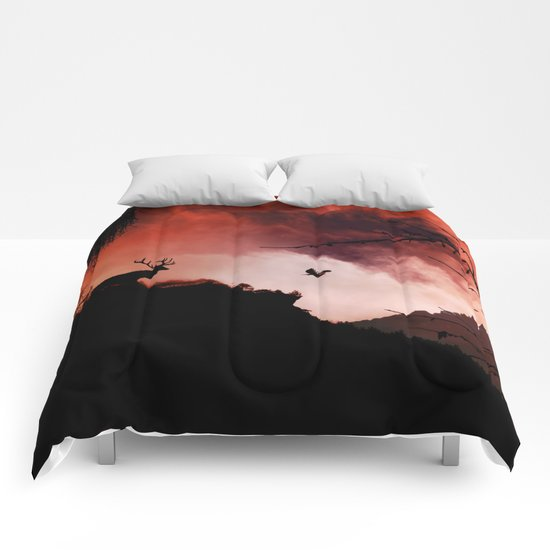 Dramatic cloudy scenery Comforters