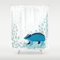 badger Shower Curtains featuring Blue Badger by Ellinor Flood