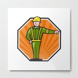Emergency Worker Pointing Side Cartoon Metal Print