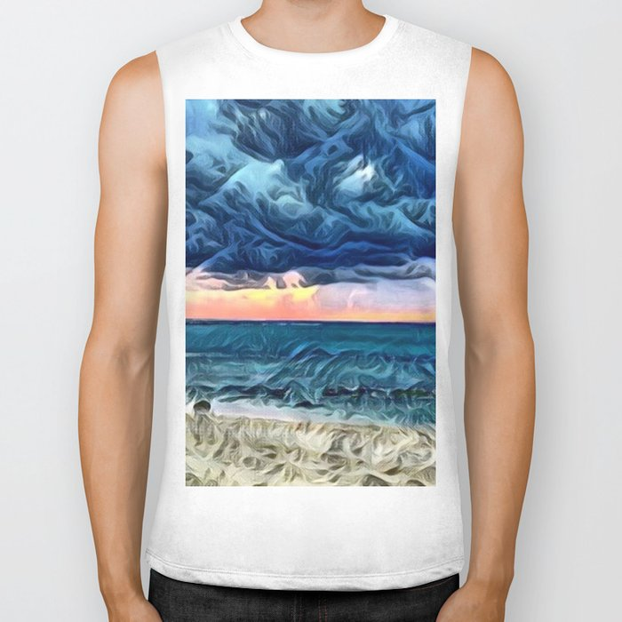 Pastel Sunset on the Beach of the Pacific Ocean Biker Tank