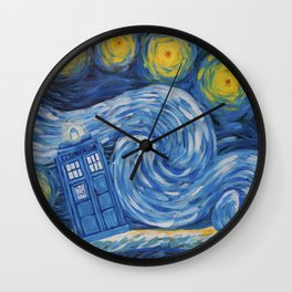 Starry Tardis Night Wall Clock