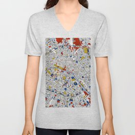 Paris Mondrian Map Art Unisex V-Neck