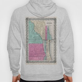 Vintage Map of Chicago IL (1855) Hoody