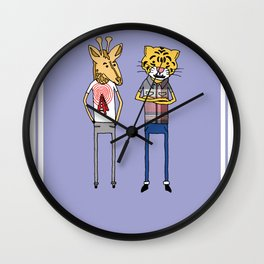 Giraffe and Tiger Wall Clock