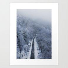 A winter's drive Art Print