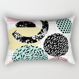 Amped - retro memphis throwback 80s style grid dots painting cut paper Rectangular Pillow