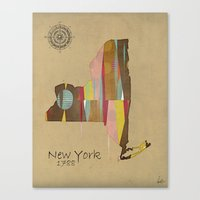 new york map Canvas Prints featuring new york state map by bri.buckley