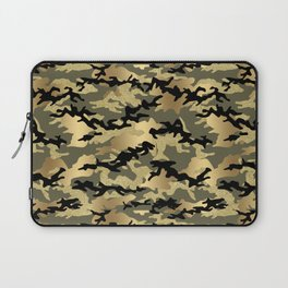 Gold Green Army Print Camouflage Laptop Sleeve