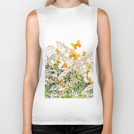 WHITE ART GARDEN ART OF YELLOW BUTTERFLIES Biker Tank