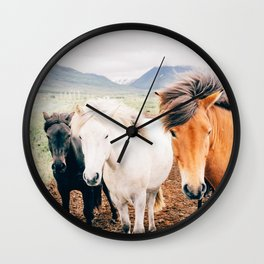 Horse print, Animal, Minimal, Scandinavian, Modern, Wall Art Wall Clock