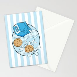 Pop Art - Cookies and Milk - Stripes Stationery Cards