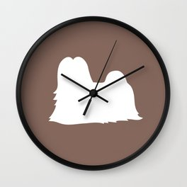 Lhasa Apso (Taupe/White) Wall Clock
