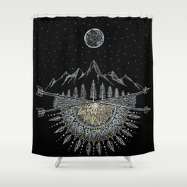 Moon and Stars Night Sky Mountain Range Arrow Mandala Shower Curtain