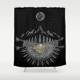 Moon and Stars Night Sky Mountain Range Arrow Mandala Shower Curtain