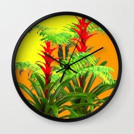 CONTEMPORARY FERNS & BROMELIADS YELLOW-ORANGE MODERN ART Wall Clock