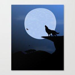 Wolf Howl Rising Moon Canvas Print