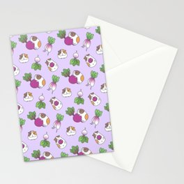 Guinea Pig and Radish Pattern Stationery Cards