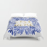 waldo Duvet Covers featuring That's Life – Gold & Blue by Cat Coquillette