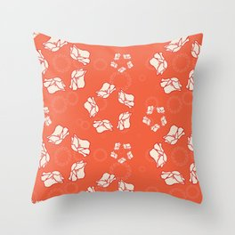 Poppy Pattern Collection - Red Background & Cream Flowers Throw Pillow