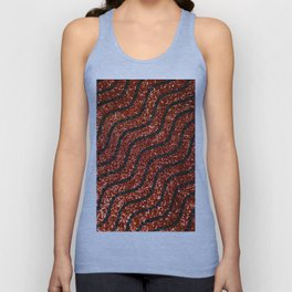 Red Glitter With Black Squiggle Pattern Unisex Tank Top
