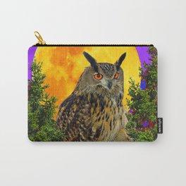 LONG-EARED OWL & MOON PANTENE PURPLE  ART DESIGN Carry-All Pouch