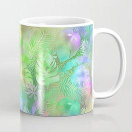 Iridescent Tropical Leaves in Aquas, Greens and Yellows Coffee Mug