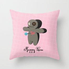 Voodoo doll. Happy love Throw Pillow