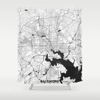 baltimore Shower Curtains featuring Baltimore Map Gray by City Art Posters