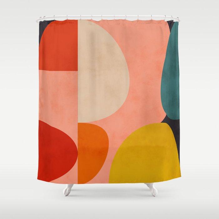 geometry shape mid century organic blush curry teal Duschvorhang