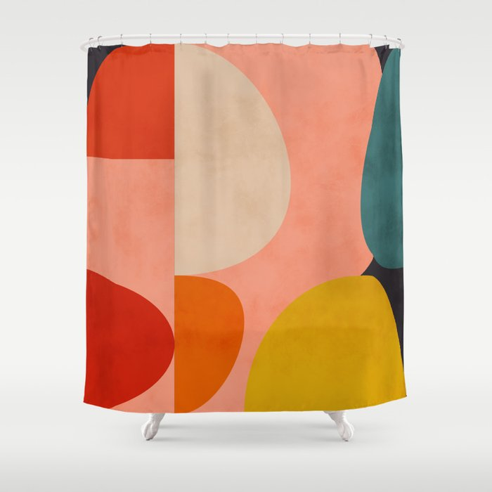 geometry shape mid century organic blush curry teal Shower Curtain