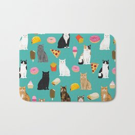 Cat breeds junk foods ice cream pizza tacos donuts purritos feline fans gifts Bath Mat