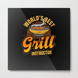 BBQ Camping Steak Kitchen Meat Cooking Gift Metal Print