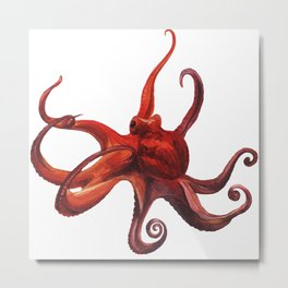 Red octopus Metal Print