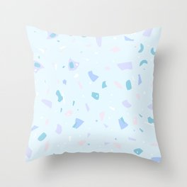 Chonkly Baby Blue Terrazzo - Pastel Summer Granite Marble Texture - Abstract Geometric Trendy Pattern Throw Pillow