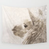 alpaca Wall Tapestries featuring Magical White Alpaca by NostalgiaCaptured