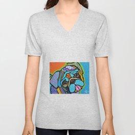 Pooped Pug Dog Puppy Designer Series Bright Colorful Fun Art Design Bulldog Breeds Unisex V-Neck