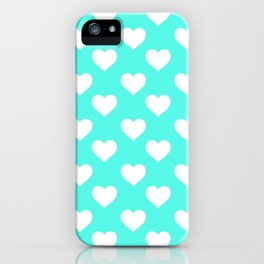 Hearts (White & Turquoise Pattern) iPhone Case