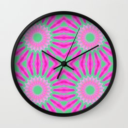 Flowers Mandala Pattern : Fuchsia Pink & Teal Watercolor Wall Clock