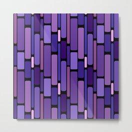 Purple Indigo Retro Blocks Metal Print
