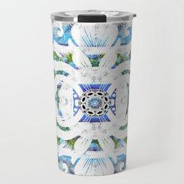 Peaceful Spanish Rococo Boho Sacred Geometry Stamp Print Travel Mug