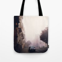 brussels Tote Bags featuring MISTY BRUSSELS by Louisa Rogers