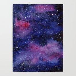 Watercolor Galaxy Nebula Pink Purple Sky Stars Poster