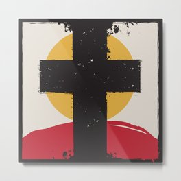 Cross and Sunset Metal Print
