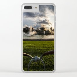 Fisheye view of Chicago's Buckingham Fountain Clear iPhone Case